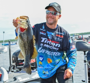 Livingston/Garmin pro Brent Chapman brought over 23 pounds to the scale on this day at the St. Johns River. Photo by Joel Shangle.