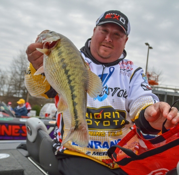 Jacob Powroznik was a threat to pull out a win in the 2015 Bassmaster Classic on Lake Hartwell thanks to spotted bass like this. Photo by Joel Shangle.