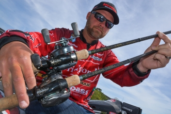 Luke Clausen shows off his key Orochi XX rods. Photo by Joel Shangle.