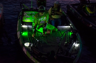 Avena lines his rods up on Day 1 at BASSfest. Photo by Joel Shangle.