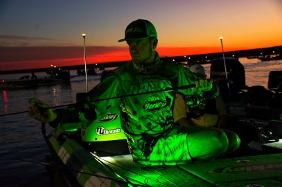 Avena's green-glow LED setup makes it easy for him to work with tackle early in the a.m. Photo by Joel Shangle.