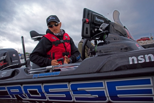 Elite rookie Jay Brainard heads out in the Crossed Industries Bass Cat. Photo by Joel Shangle.