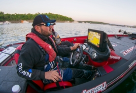 Greg Hackney rolled out for action on Bull Shoals. Photo by Joel Shangle.