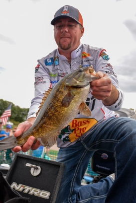 Bass Pro Shops pro Jason Williamson with part of his haul from the week. Photo by Joel Shangle.