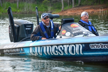 Morgan was ready for Day 1 morning at the Toyota Texas Bass Classic. Photo by Joel Shangle.