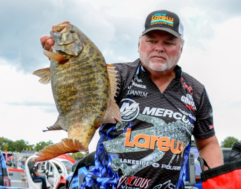 Gene Larew pro Tommy Biffle loaded up a behemoth on Day 2. Photo by Joel Shangle.